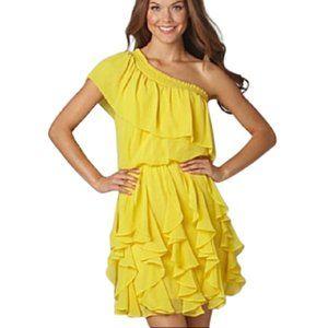 JESSICA SIMPSON Yellow ruffle dressBold &Fun SZ SM